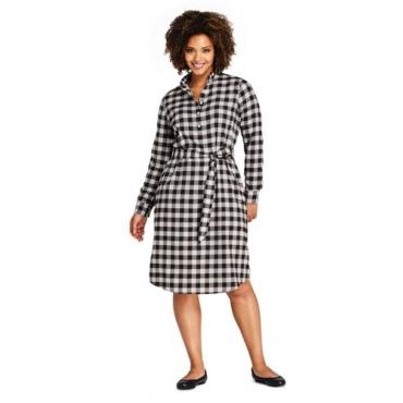 Kariertes Kleid mit Stehkragen in großen Größen