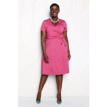 Kurzarm-Jerseykleid in Wickel-Optik in großen Größen, Damen, Größe: 52-54 Plusgrößen, Pink, by Lands' End, Pink Limonade