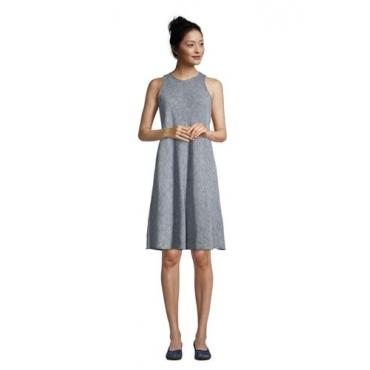Leinenkleid in A-Linie, Damen, Größe: L Normal, Blau, by Lands' End, Indigo Leinen