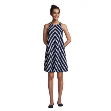 Leinenkleid in A-Linie, Damen, Größe: L Normal, Blau, by Lands' End, Tiefsee Marine Streifen