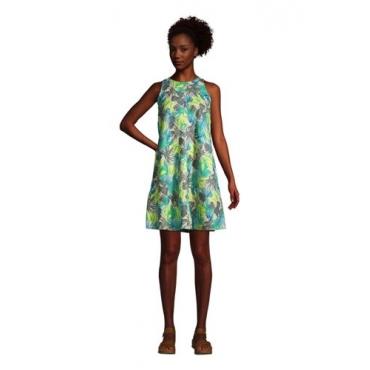 Leinenkleid in A-Linie, Damen, Größe: L Normal, Elfenbein, by Lands' End, Elfenbein Sand Tropical Palme