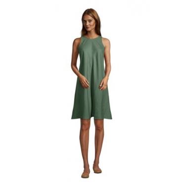 Leinenkleid in A-Linie, Damen, Größe: L Normal, Grün, by Lands' End, Washed Olivgrün