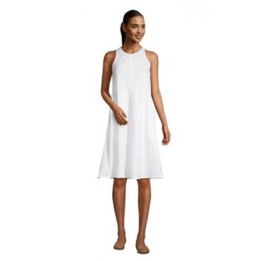 Leinenkleid in A-Linie, Damen, Größe: L Normal, Weiß, by Lands' End, Weiß