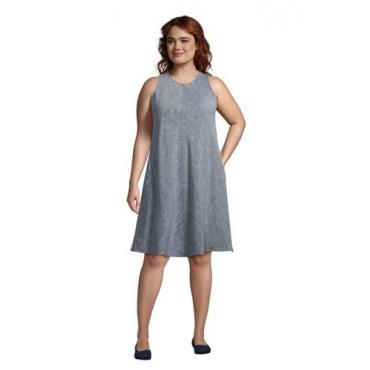 Leinenkleid in A-Linie in großen Größen, Damen, Größe: 48-50 Plusgrößen, Blau, by Lands' End, Indigo Leinen