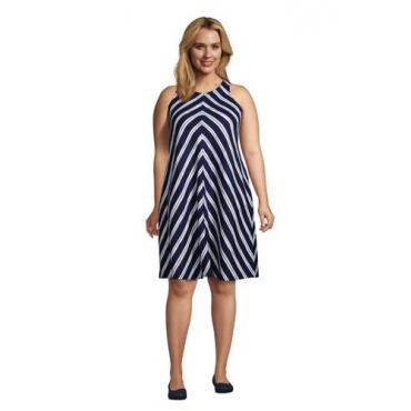 Leinenkleid in A-Linie in großen Größen, Damen, Größe: 48-50 Plusgrößen, Blau, by Lands' End, Tiefsee Marine Streifen