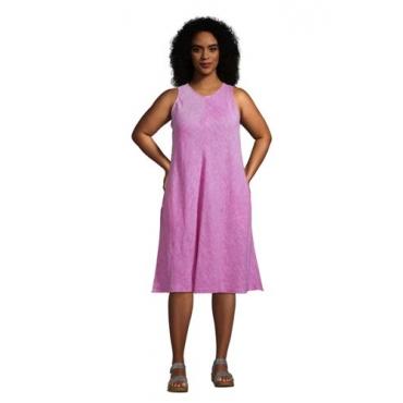Leinenkleid in A-Linie in großen Größen, Damen, Größe: 48-50 Plusgrößen, Pink, by Lands' End, Leuchtend Magenta Leinen