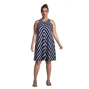 Leinenkleid in A-Linie in großen Größen, Damen, Größe: 56-58 Plusgrößen, Blau, by Lands' End, Tiefsee Marine Streifen