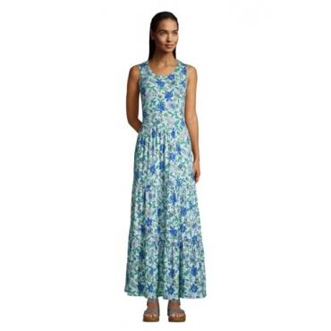 Maxikleid, Damen, Größe: 48-50 Normal, Blau, Modal, by Lands' End, Glänzend Blau Lotus Floral