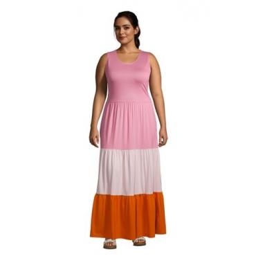 Maxikleid in großen Größen, Damen, Größe: 48-50 Plusgrößen, Pink, Modal, by Lands' End, Pink/Orange Colorblock