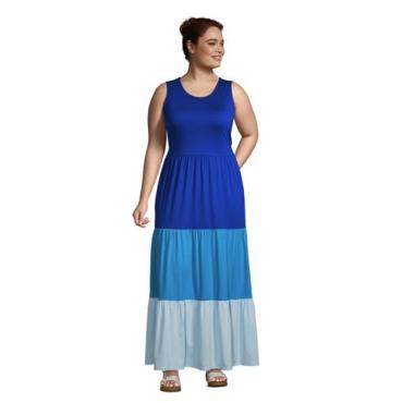 Maxikleid in großen Größen, Damen, Größe: 52-54 Plusgrößen, Blau, Modal, by Lands' End, Classic Cobalt Colorblock