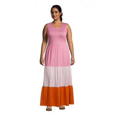 Maxikleid in großen Größen, Damen, Größe: 56-58 Plusgrößen, Pink, Modal, by Lands' End, Pink/Orange Colorblock