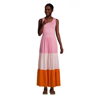 Maxikleid in Petite-Größe, Damen, Größe: L Petite, Pink, Modal, by Lands' End, Pink/Orange Colorblock