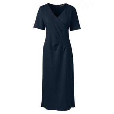 Ponté-Kleid in Wickel-Optik mit Plissee-Taille  in großen Größen