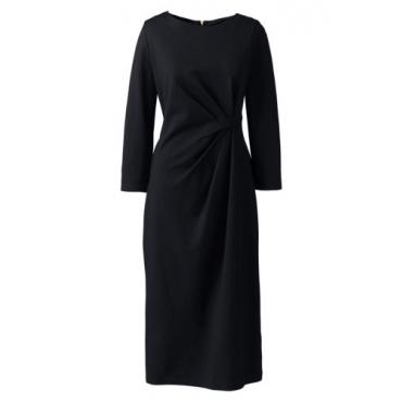 Ponté-Kleid mit geraffter Taille, Damen, Größe: L Normal, Schwarz, Leinen, by Lands' End, Schwarz