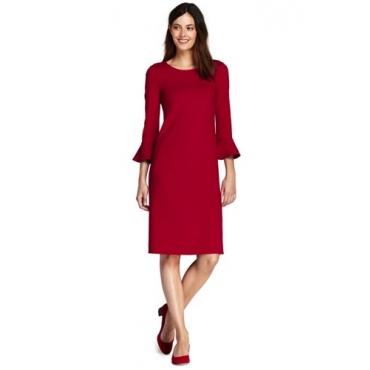 Ponté-Kleid mit Volant-Ärmeln