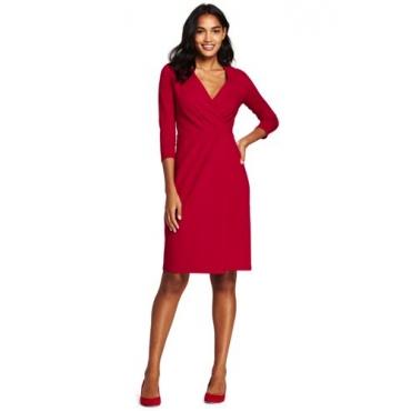 Ponté-Wickelkleid mit plissierter Taille in großen Größen, Damen, Größe: 52 Plusgrößen, Rot, Viskose-Mischung, by Lands' End, Satt Rot
