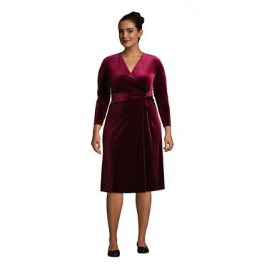 Samt-Wickelkleid mit 3/4-Ärmeln in großen Größen, Damen, Größe: 48-50 Plusgrößen, Rot, Elasthan, by Lands' End, Satt Burgund