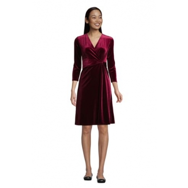 Samt-Wickelkleid mit 3/4-Ärmeln, Damen, Größe: L Normal, Rot, Elasthan, by Lands' End, Satt Burgund