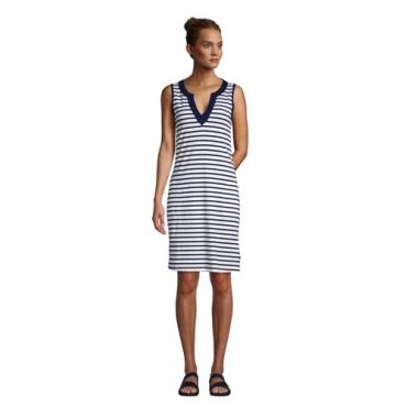 Strandkleid Gemustert, Damen, Größe: 48-50 Normal, Weiß, Jersey, by Lands' End, Weiß/Tiefsee Gestreift