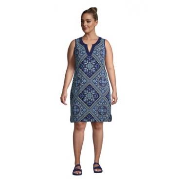 Strandkleid Gemustert in großen Größen, Damen, Größe: 48-50 Plusgrößen, Blau, Jersey, by Lands' End, Tiefsee Raute Paisley