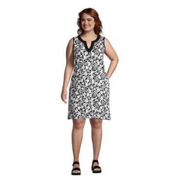 Strandkleid Gemustert in großen Größen, Damen, Größe: 48-50 Plusgrößen, Schwarz, Jersey, by Lands' End, Schwarz Havana Floral