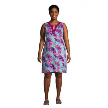 Strandkleid Gemustert in großen Größen, Damen, Größe: 56-58 Plusgrößen, Blau, Jersey, by Lands' End, Türkis Tropical Palme
