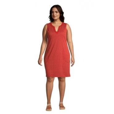 Strandkleid Gemustert in großen Größen, Damen, Größe: 56-58 Plusgrößen, Rot, Jersey, by Lands' End, Paprikarot Gepunktet