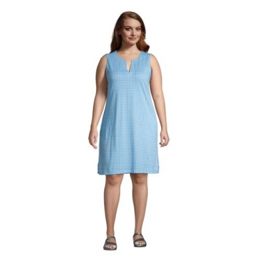 Strandkleid Print in großen Größen, Damen, Größe: 56-58 Plusgrößen, Blau, Jersey, by Lands' End, Paradies Aqua Gingham