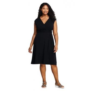 Wickelkleid aus Jersey in großen Größen, Damen, Größe: 52-54 Plusgrößen, Schwarz, by Lands' End, Schwarz