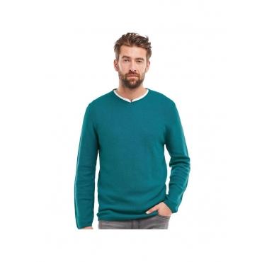 Pullover V-Ausschnitt Engbers Blautürkis