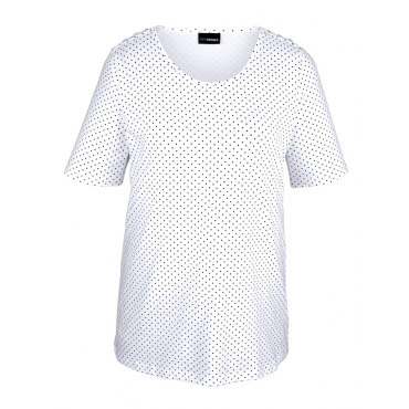 Shirt MIAMODA Weiß::Marineblau