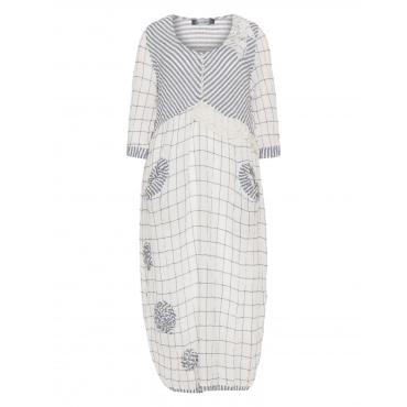 2-in-1-Mustermix-Kleid im Knitter-Look