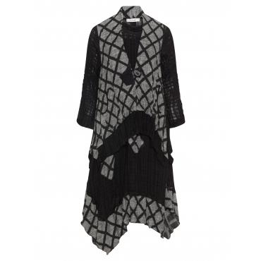 2-teiliges-Kleid aus Leinen-Viskose-Mix