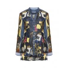 Allover-Print-Bluse mit Denim