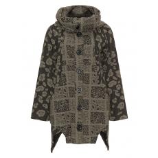 Asymmetrische Jacke mit Leoparden-Muster