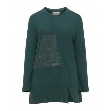 Asymmetrischer Pullover mit Metallfäden
