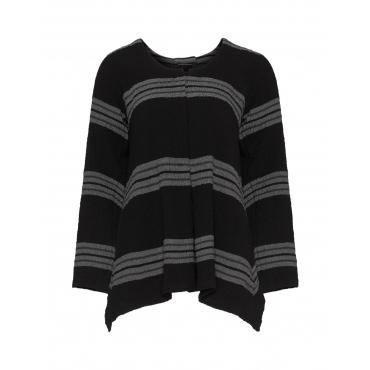 Asymmetrisches Jerseyshirt mit Streifen
