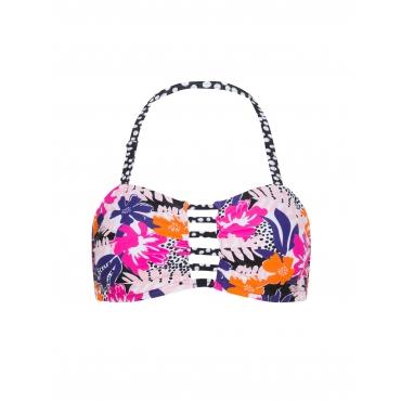 Bandeau Bikini-Oberteil mit Tropic-Print
