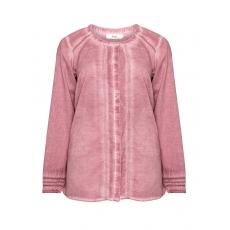 Baumwoll-Hemdbluse mit Washed-Out-Effekt