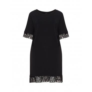 Baumwoll-Sweatshirt-Kleid mit Spitze