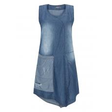 Baumwoll-Used-Denim-Kleid mit Tasche