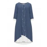 Baumwollmix-Kleid mit Rüschen und Borte