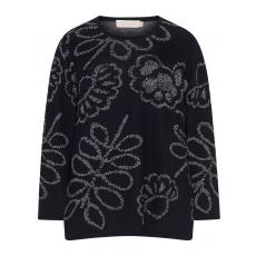 Baumwollmix-Pullover mit floralem Muster