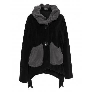 Bicolour-Fleece-Jacke mit Taschen