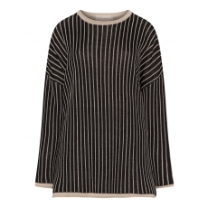 Bicolour-Pullover im Streifen-Design