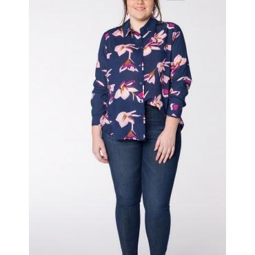 Bluse mit Allover-Print und Rüschenkante
