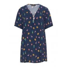Blusenshirt mit tropischem Allover-Print