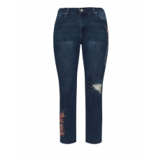 Boyfriend-Jeans mit Drachen-Stickerei