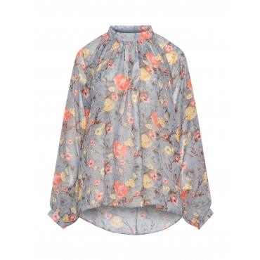 Chiffon-Shirt mit Blumenmuster
