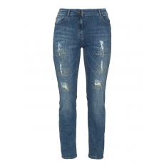 Destroyed Slim Fit Jeans mit Steinchen